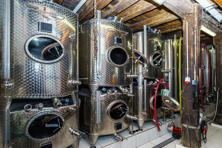 producing: Big stainless steel tanks for wine producing, winery equipment