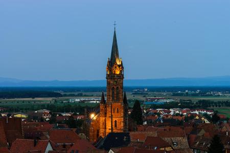 mistery: Beautiful moonrise over the church, Alsace, Dambach-la-ville, France