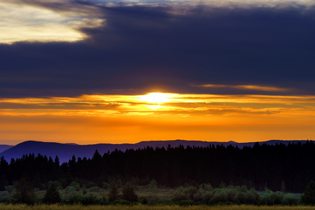 champ: Beautiful sunset panoramic view, Alsace, Le Champ du Feu, France