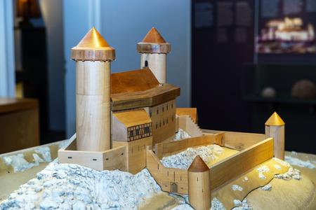 andlau: Wooden miniature model of old medieval fortress Andlau, France