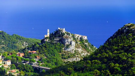 azur: Old medieval city Eze near the sea, Cote d Azur, France Editorial