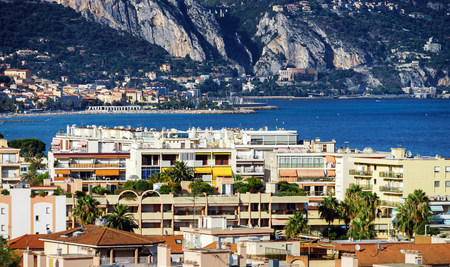 azur: Touristic apartments in Menton, Cote d Azur, sunny resort, France Stock Photo
