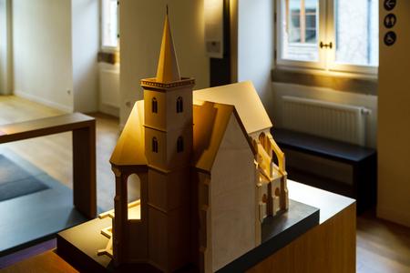 andlau: Wooden miniature model of old church , Andlau museum
