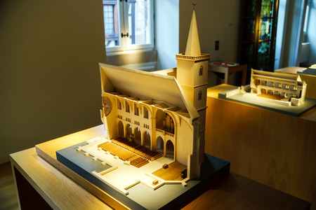 maquette: Wooden miniature model of old church , Andlau museum