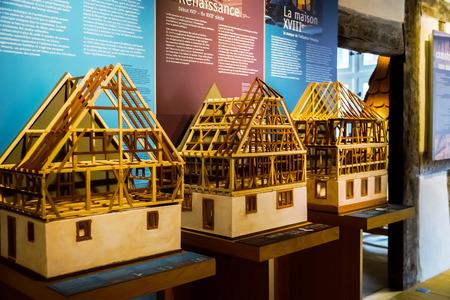 andlau: Wooden miniature model of traditional alsacien house, museum Andlau