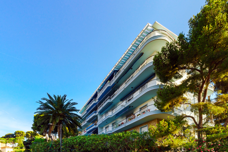 azur: Touristic apartments in Menton, Cote d Azur, sunny resort, France Editorial