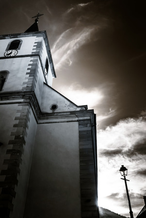 old church: Majestic old church skyward, Alsace, Ottrott, France, infrared view