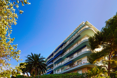 azur: Touristic apartments in Menton, Cote d Azur, sunny resort, France Stock Photo