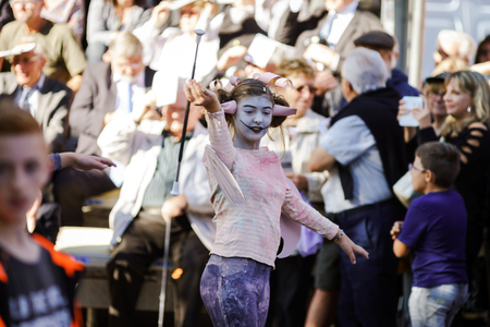 vinery: Editorial, 4 October 2015: Barr, France: Fete des Vendanges. Fancy-dress holiday and festival with orchestras and flowered carts