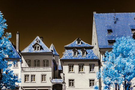infra red: Typical traditional alsacien city house, Selestat, France