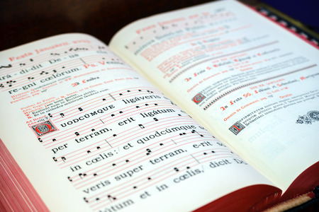 psalm: Vintage psalm book with chorus singing notes