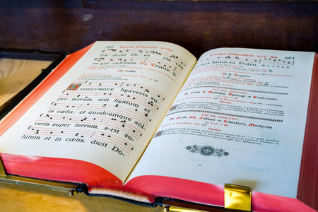 hymn: Vintage psalm book with chorus singing notes