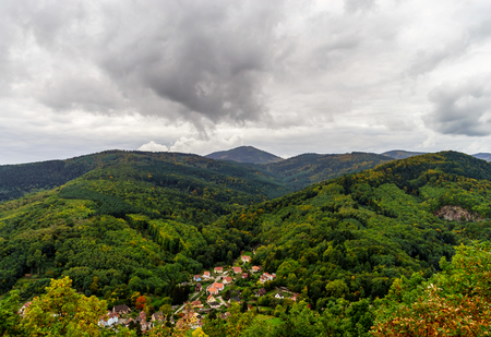 colorized: Beautiful colorized autumn hills in Andlau, Alsace, France