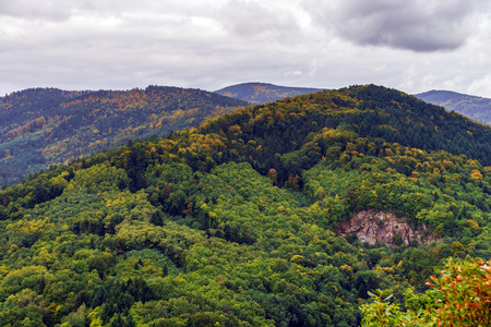 andlau: Beautiful colorized autumn hills in Andlau, Alsace, France