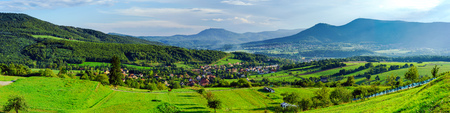 Beautiful valley panoramic view from top of the hill, Alsace, France