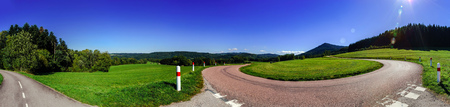 alsace: Spiral mountain road panoramic view, Alsace, France