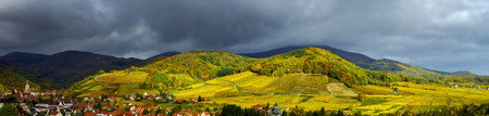 weather  thunder: Beautiful panoramic view to Andlau, France, stormy weather and vivid colors of autumn Stock Photo