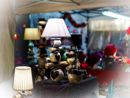 andlau: Traditional Christmas market with handmade souvenirs, Andlau, Alsace, France Stock Photo