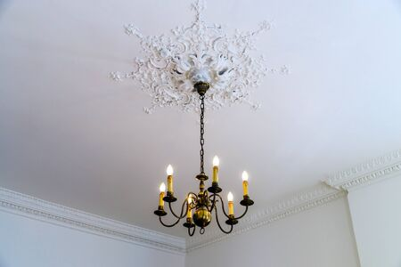 luster: Beautiful luster in big house room, interior details Stock Photo