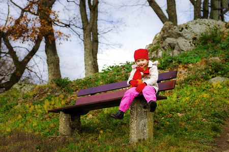 french countryside: Cute little girl walking, autumn day, french countryside