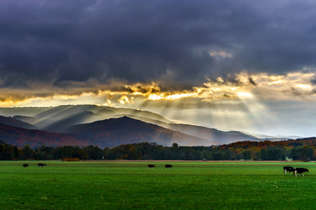 Beautiful sun rays through the clouds over mountains, sunset in Alsace Stock Photo - 49597572