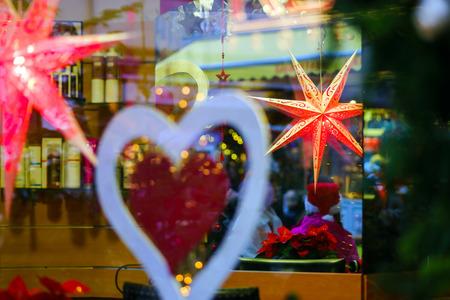 ville: Colorful Christmas decoration of alsacien street, Ville, France