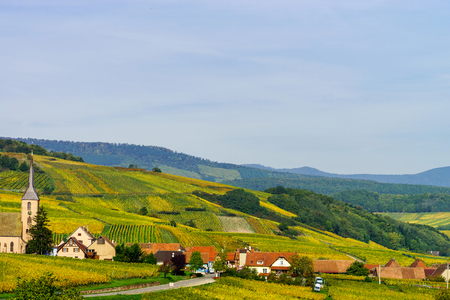 wine road: Beautiful colorful vineyards in Alsace hills, autumn Stock Photo