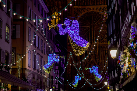 shopwindow: Shop-window and street decoration of Strasbourg before Christmas, prepare for holidays