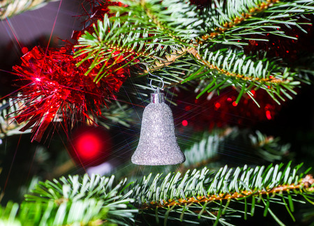 Indoor Christmas and New Year decoration, tree and toys