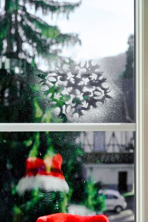 cosiness: Christmas decoration of new pvc window, comfort at home