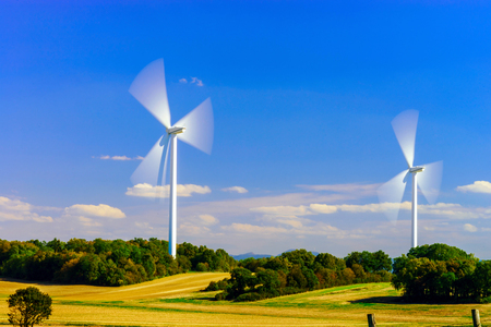 windfarm: Wind turbines generating electricity in windfarm, Loraine, France Stock Photo