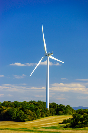 windfarm: Wind turbines generating electricity in windfarm, Loraine, France Stock Photo