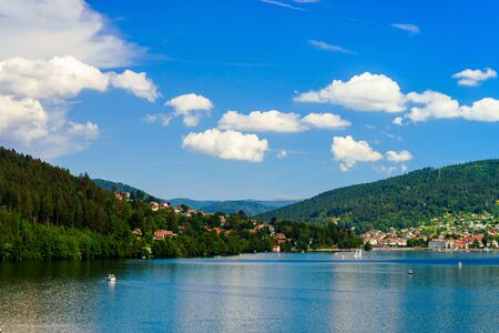 Beautiful summer lake in french mountains, travel concept