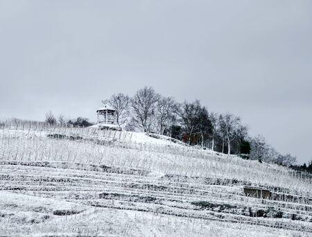 season specific: Snow in Alsace, France, winter landscape, season specific Stock Photo