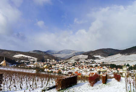andlau: Small french village over the snow, Andlau landscape view Stock Photo