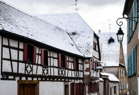 season specific: First snow in small french village, season specific
