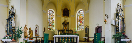 church interior: Majestic church interior panoramic view, Maisonsgoutte, France