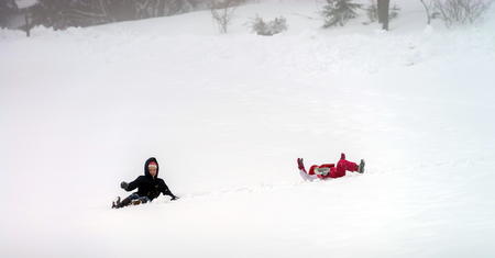 flurry: Children have a roll in the snow, winter day