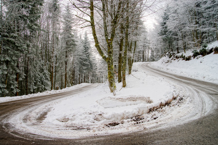 turns of the year: Greasy winter spiral road in beautiful forest, dangerous riding