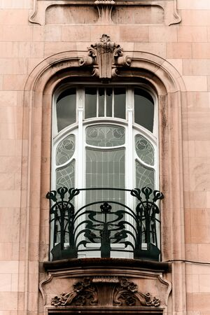 strasbourg: Beautiful modern architectural style windows, old house in Strasbourg