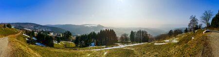 alsace: Panoramic landscape view. Vosges mountains. Alsace, France.