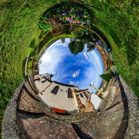 curvature: Chapelle Sainte Sebastien little planet. Curvature of space. Touristic concept. Stock Photo