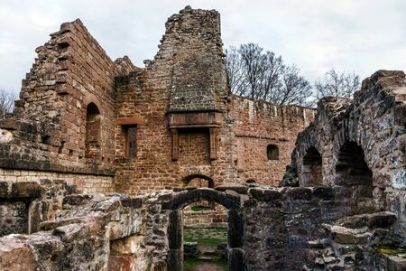 broken hill: Ruins of medieval castle Wangenbourg on the top of hill, Alsace, France