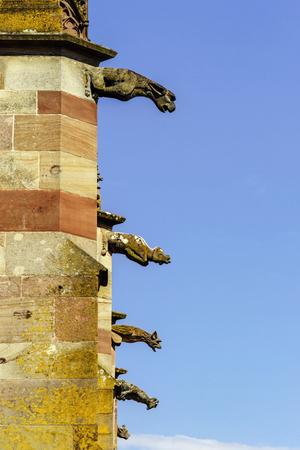 gargouille: Gargoyle on a gothic cathedral, detail of a tower on blue sky background, Saint Florent church, Niederhaslach, France