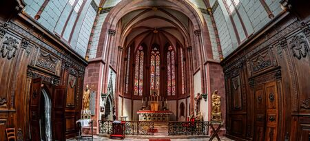 old church: Majestic old church interior panoramic view, France