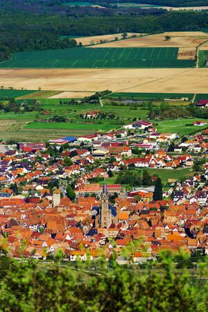 vinery: Panoramic view from high point to the valley, Dambach-la-ville, Alsace, France Stock Photo