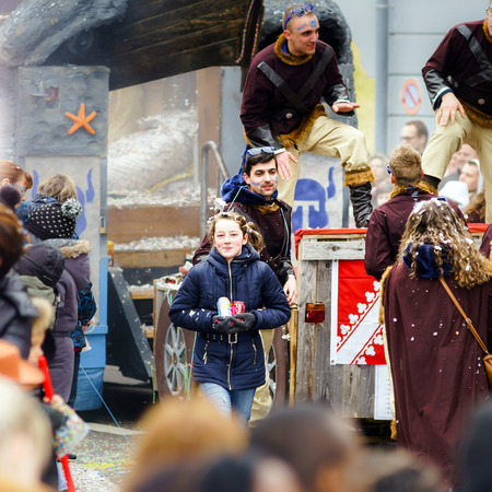 editorial: Editorial,14st February 2016: Selestat, France: Carnival and parade throught the streets. Fancy-dress spring holiday and festival.