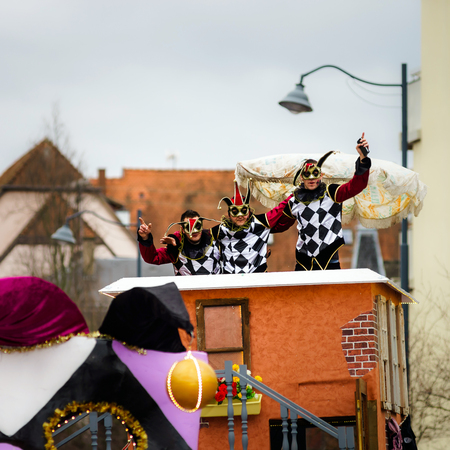 fiend: Editorial,14st February 2016: Selestat, France: Carnival and parade throught the streets. Fancy-dress spring holiday and festival.