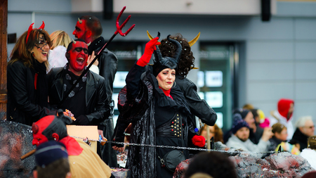 carnevale: Editorial,14st February 2016: Selestat, France: Carnival and parade throught the streets. Fancy-dress spring holiday and festival.