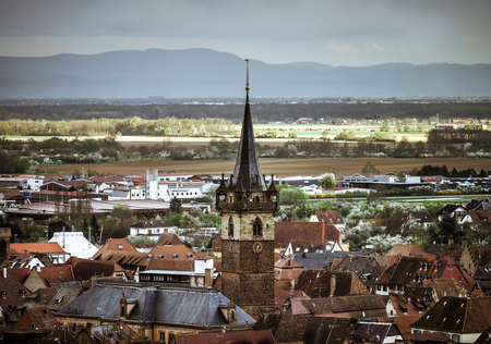 an overview: Old part of Obernai overview in stormy weather, France Stock Photo